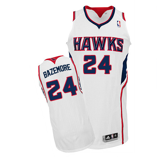 Men's Adidas Atlanta Hawks #24 Kent Bazemore Authentic White Home NBA Jersey
