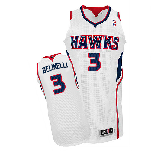 Men's Adidas Atlanta Hawks #3 Marco Belinelli Authentic White Home NBA Jersey