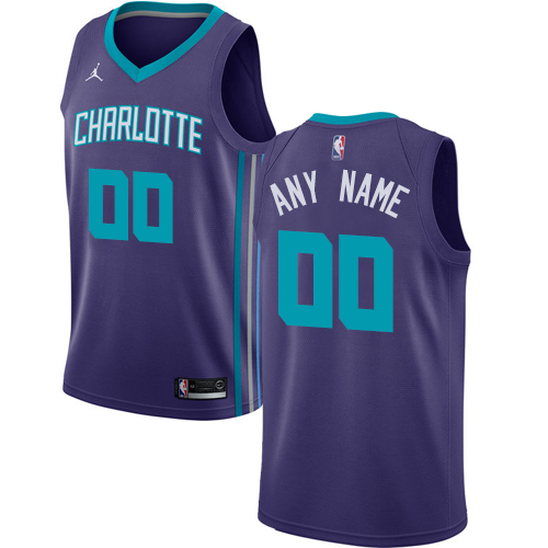 Men's Nike Jordan Charlotte Hornets Customized Authentic Purple NBA Jersey Statement Edition