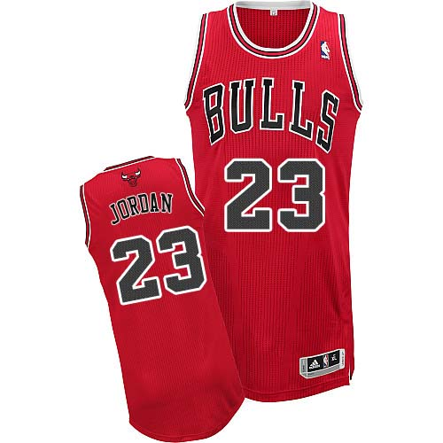 Men's Adidas Chicago Bulls #23 Michael Jordan Authentic Red Road NBA Jersey