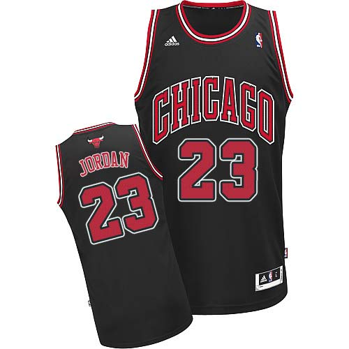 Men's Adidas Chicago Bulls #23 Michael Jordan Swingman Black Alternate NBA Jersey