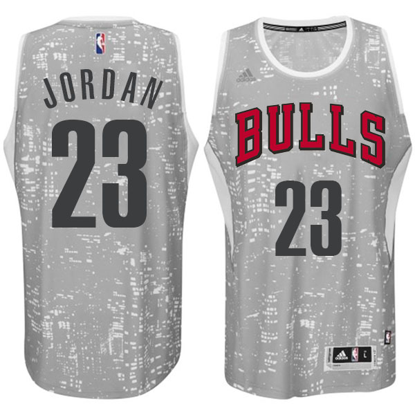 Men's Adidas Chicago Bulls #23 Michael Jordan Authentic Grey City Light NBA Jersey