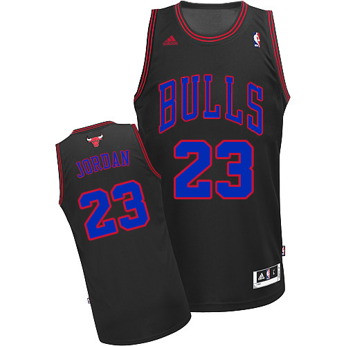 Men's Adidas Chicago Bulls #23 Michael Jordan Authentic Black Blue No. NBA Jersey