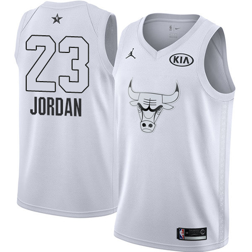 Men's Adidas Chicago Bulls #23 Michael Jordan Authentic White Home Autographed NBA Jersey