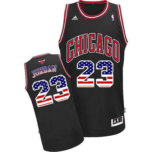 Men's Adidas Chicago Bulls #23 Michael Jordan Authentic Black USA Flag Fashion NBA Jersey