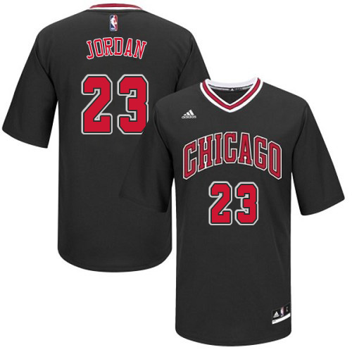 Men's Adidas Chicago Bulls #23 Michael Jordan Authentic Black Short Sleeve NBA Jersey