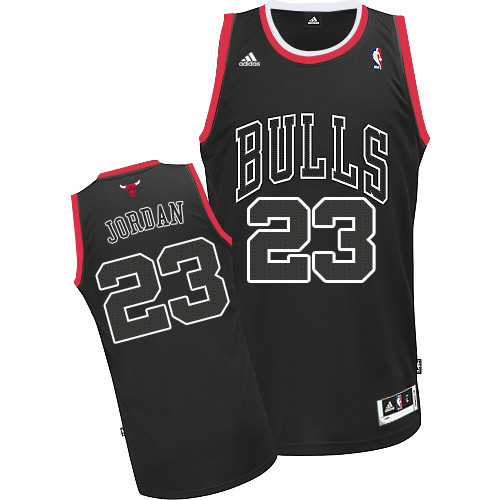 Men's Adidas Chicago Bulls #23 Michael Jordan Authentic Black Shadow NBA Jersey