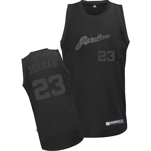 Men's Adidas Chicago Bulls #23 Michael Jordan Authentic All Black NBA Jersey