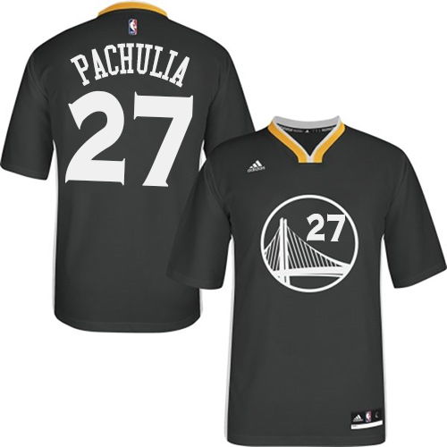 Men's Adidas Golden State Warriors #27 Zaza Pachulia Authentic Black Alternate NBA Jersey