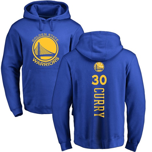 NBA Nike Golden State Warriors #30 Stephen Curry Royal Blue Backer Pullover Hoodie