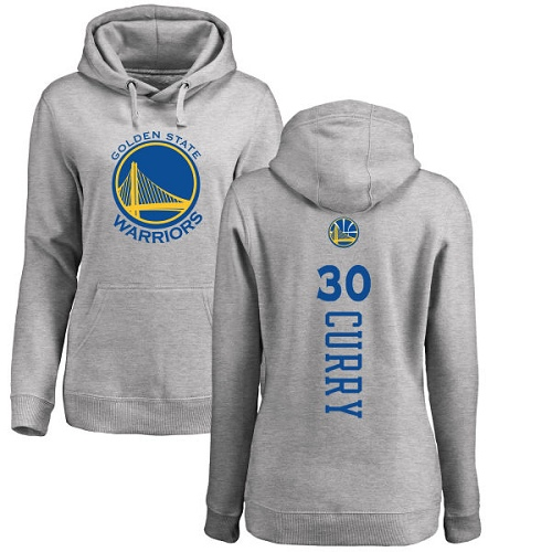 NBA Women's Nike Golden State Warriors #30 Stephen Curry Ash Backer Pullover Hoodie