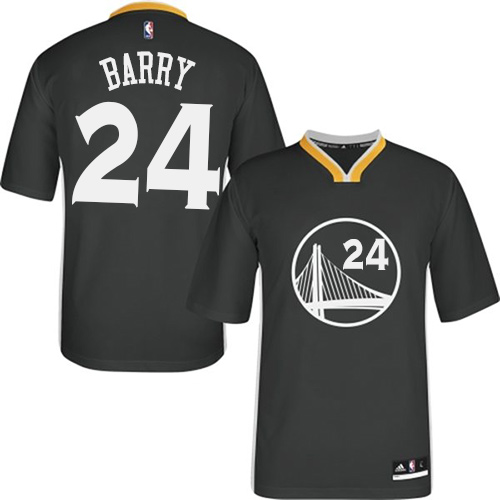 Men's Adidas Golden State Warriors #24 Rick Barry Authentic Black Alternate NBA Jersey