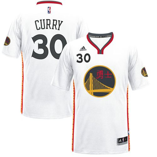 Men's Adidas Golden State Warriors #30 Stephen Curry Swingman White 2017 Chinese New Year NBA Jersey
