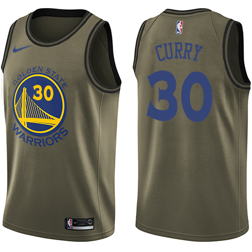 Men's Nike Golden State Warriors #30 Stephen Curry Swingman Green Salute to Service NBA Jersey