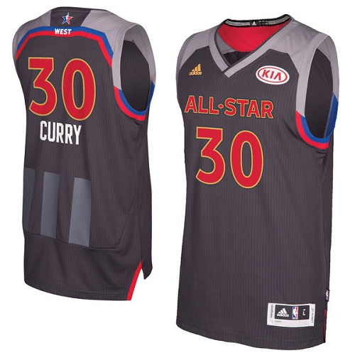 Men's Adidas Golden State Warriors #30 Stephen Curry Authentic Charcoal 2017 All Star NBA Jersey