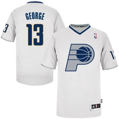 Men's Adidas Indiana Pacers #13 Paul George Authentic White 2013 Christmas Day NBA Jersey