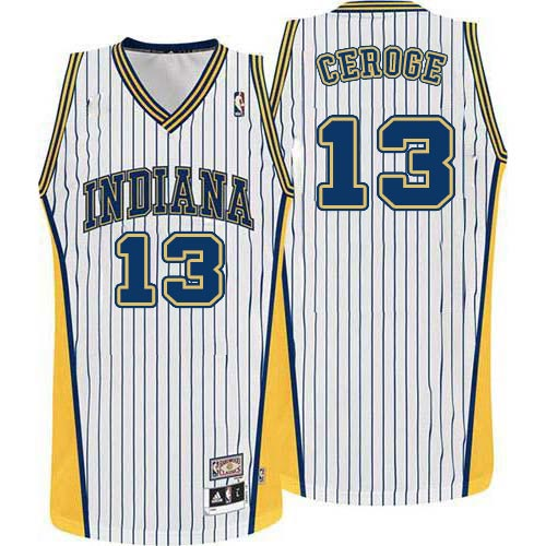 Men's Adidas Indiana Pacers #13 Paul George Swingman White Throwback NBA Jersey