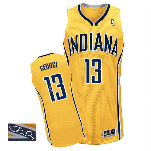 Men's Adidas Indiana Pacers #13 Paul George Authentic Gold Alternate Autographed NBA Jersey