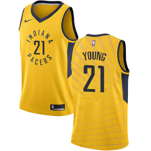 Men's Adidas Indiana Pacers #21 Thaddeus Young Authentic Gold Alternate NBA Jersey