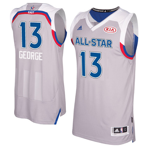 Men's Adidas Indiana Pacers #13 Paul George Authentic Gray 2017 All Star NBA Jersey
