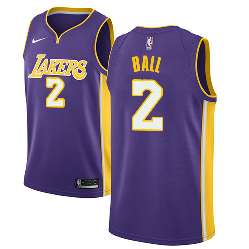 Men's Adidas Los Angeles Lakers #2 Lonzo Ball Authentic Purple Road NBA Jersey