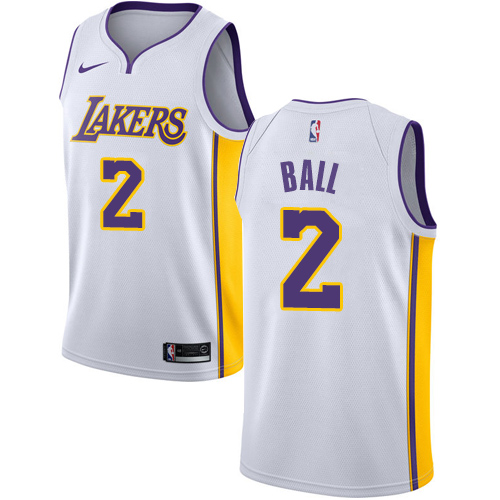 Men's Adidas Los Angeles Lakers #2 Lonzo Ball Authentic White Alternate NBA Jersey