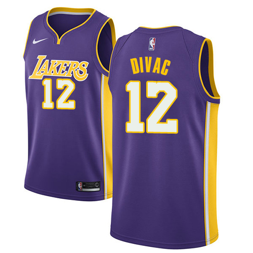 Men's Adidas Los Angeles Lakers #12 Vlade Divac Authentic Purple Road NBA Jersey