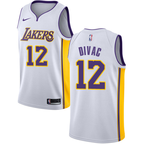 Men's Adidas Los Angeles Lakers #12 Vlade Divac Authentic White Alternate NBA Jersey