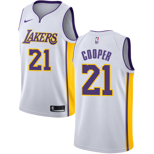 Men's Adidas Los Angeles Lakers #21 Michael Cooper Authentic White Alternate NBA Jersey