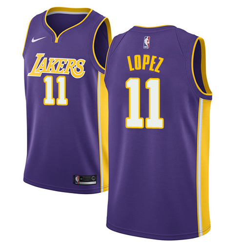 Men's Adidas Los Angeles Lakers #11 Brook Lopez Authentic Purple Road NBA Jersey