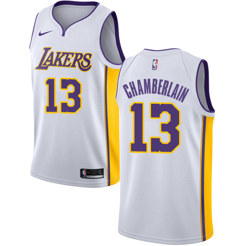 Men's Adidas Los Angeles Lakers #13 Wilt Chamberlain Authentic White Alternate NBA Jersey