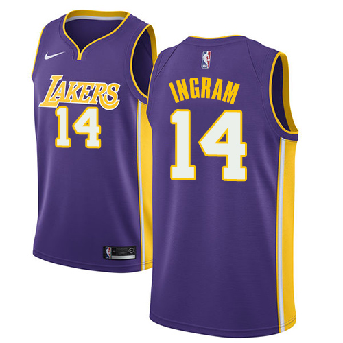 Men's Adidas Los Angeles Lakers #14 Brandon Ingram Authentic Purple Road NBA Jersey