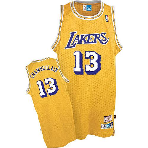 Men's Adidas Los Angeles Lakers #13 Wilt Chamberlain Authentic Gold Throwback NBA Jersey