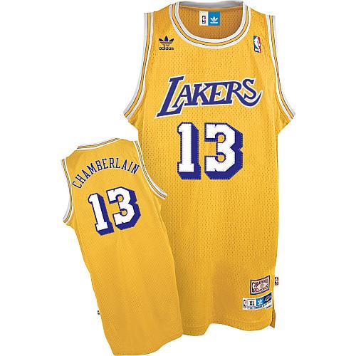 Men's Adidas Los Angeles Lakers #13 Wilt Chamberlain Swingman Gold Throwback NBA Jersey