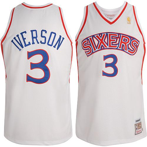 Men's Mitchell and Ness Philadelphia 76ers #3 Allen Iverson Authentic White Throwback NBA Jersey