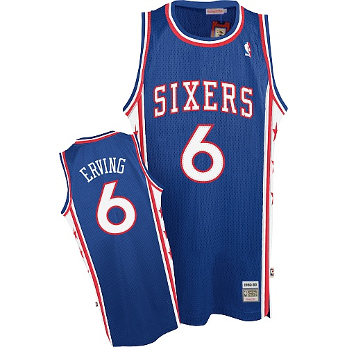 Men's Mitchell and Ness Philadelphia 76ers #6 Julius Erving Authentic Blue Throwback NBA Jersey