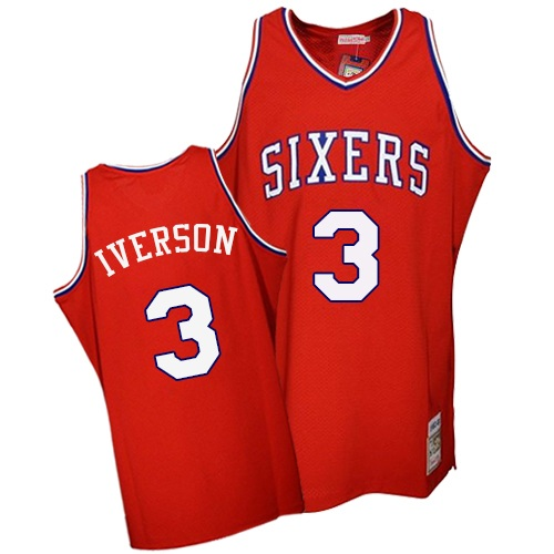 Men's Mitchell and Ness Philadelphia 76ers #3 Allen Iverson Authentic Red Throwback NBA Jersey