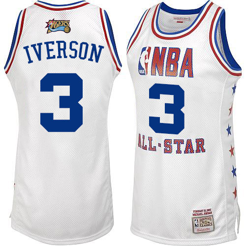 Men's Mitchell and Ness Philadelphia 76ers #3 Allen Iverson Authentic White 2003 All Star Throwback NBA Jersey