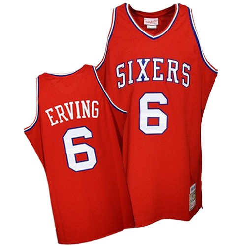 "Men's Mitchell and Ness Philadelphia 76ers #6 Julius Erving Authentic Red ""DR. J"" Throwback NBA Jersey"