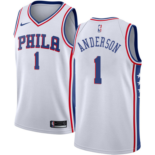 Men's Nike Philadelphia 76ers #1 Justin Anderson Authentic White Home NBA Jersey - Association Edition