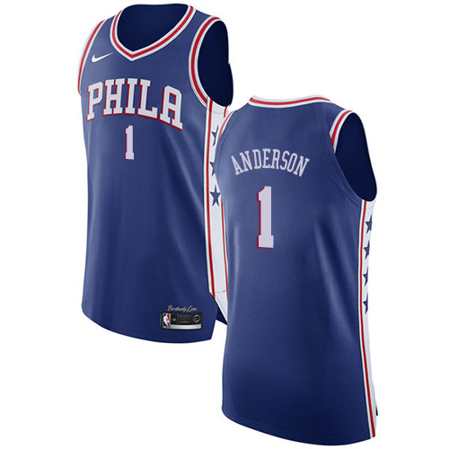 Men's Nike Philadelphia 76ers #1 Justin Anderson Authentic Blue Road NBA Jersey - Icon Edition
