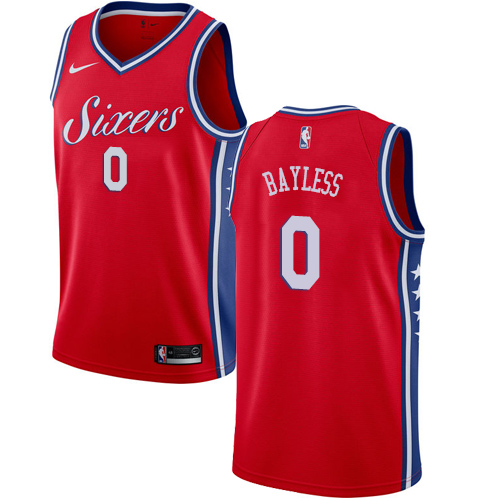 Men's Nike Philadelphia 76ers #0 Jerryd Bayless Authentic Red Alternate NBA Jersey Statement Edition
