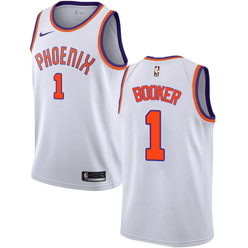Men's Adidas Phoenix Suns #1 Devin Booker Authentic White Home NBA Jersey