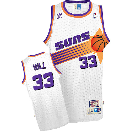 Men's Adidas Phoenix Suns #33 Grant Hill Authentic White Throwback NBA Jersey