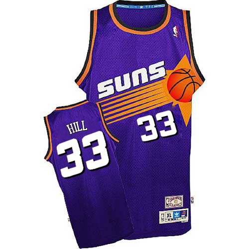 Men's Adidas Phoenix Suns #33 Grant Hill Authentic Purple Throwback NBA Jersey