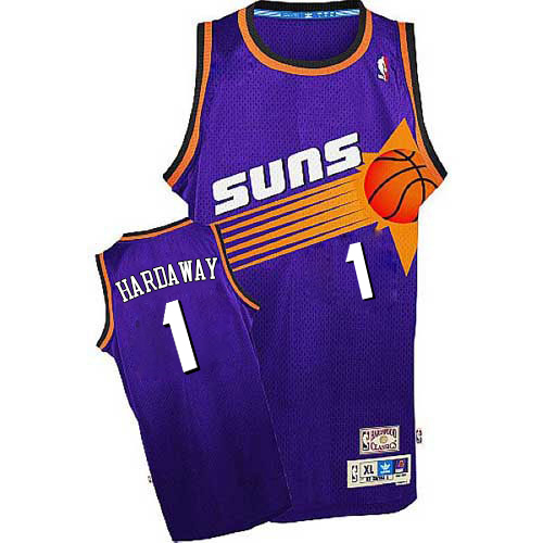 Men's Adidas Phoenix Suns #1 Penny Hardaway Authentic Purple Throwback NBA Jersey