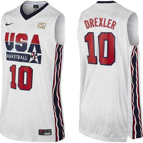Men's Nike Team USA #10 Clyde Drexler Authentic White 2012 Olympic Retro Basketball Jersey
