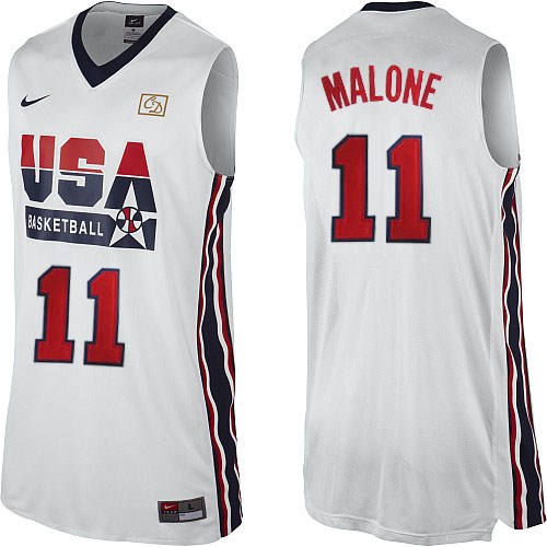 Men's Nike Team USA #11 Karl Malone Authentic White 2012 Olympic Retro Basketball Jersey