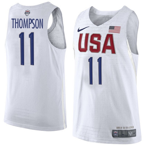 Men's Nike Team USA #11 Klay Thompson Authentic White 2016 Olympics Basketball Jersey