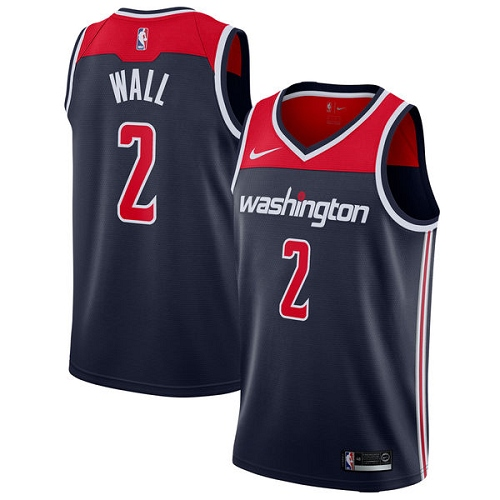 Men's Adidas Washington Wizards #2 John Wall Authentic Navy Blue NBA Jersey Statement Edition